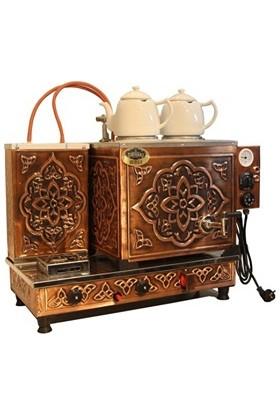 Tiryaki Bakır Çay Kazanı 2 Demlikli