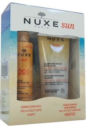 Nuxe Güneş Koruyucu Yüz Ve Vücut Sütü Spf20 150 ml + Güneş Sonrası Nemlendirici Saç Ve Vücut Şampuan