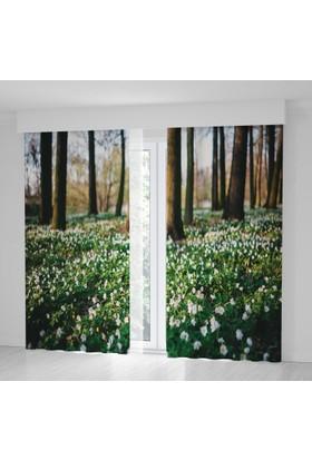 Positivehome İlkbahar ÇiçeklerRomantik Doğa Manzaralı Fon Perde