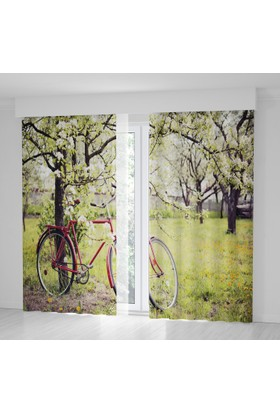 Positivehome İlkbahar BisikletRomantik Doğa Manzaralı Fon Perde