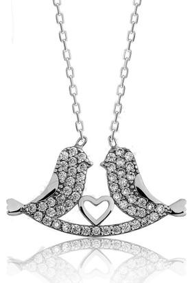 Hayal Gümüş 925 Ayar Zirkon Taşlı Kolye Aşk Kumruları