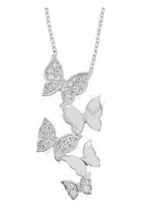 Hayal Gümüş 925 Ayar Zirkon Taşlı Kolye Sarkıt Kelebekler