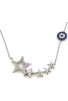 Hayal Gümüş 925 Ayar Zirkon Taşlı Kolye Nazar Boncuklu Sarkıt Yıldızlar