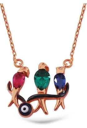 Hayal Gümüş 925 Ayar Firuze Taşlı Kolye Üçlü Renkli Kuşlar