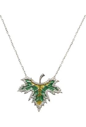 Hayal Gümüş 925 Ayar Firuze Taşlı Kolye Çınar Yaprağı