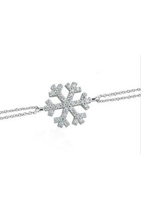 Hayal Gümüş 925 Ayar Zirkon Taşlı Bileklik Kar Tanesi