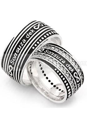 Takıhan 925 Ayar Gümüş Zirkon Taşlı Sonsuz Dek Yazılı Çift Alyans