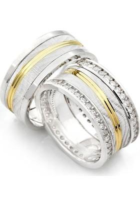 Takıhan 925 Ayar Gümüş Zirkon Taşlı Bay Bayan Alyans