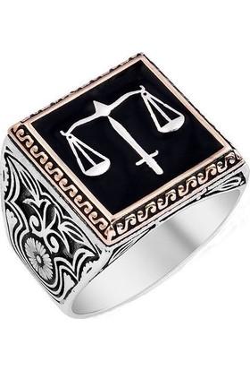 Takıhan 925 Ayar Gümüş Kaçak Dizisi Adalet Motifli Yüzüğü