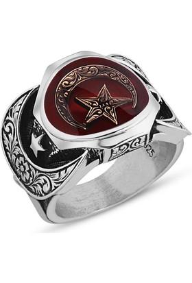 Takıhan 925 Ayar Gümüş Kırmızı Mineli Ay Yıldız Yüzük