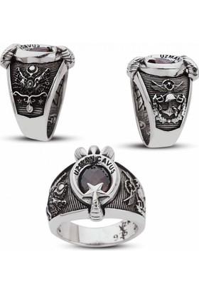 Takıhan 925 Ayar Gümüş Devlet Armalı Pençeli Uzman Çavuş Yüzüğü