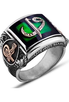 Takıhan 925 Ayar Gümüş Yeşil Mineli Elif Vav Yüzük