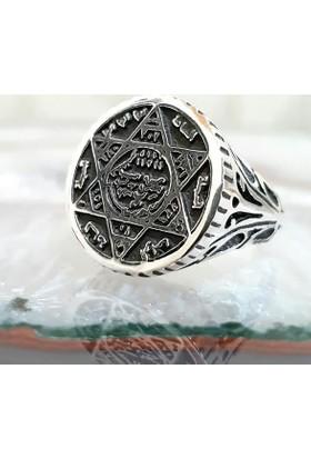 Takıhan Mühr-Ü Süleyman Davut Yıldızı Gümüş Yüzük