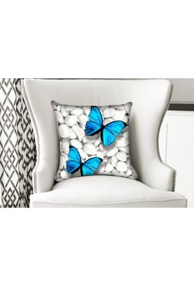 Cici Halı Mavi Kelebek Beyaz Taşlar Üstünde Yastık Kırlent Kılıfı
