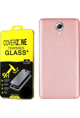 Coverzone General Mobile Android One 4G Kılıf Karbon Silikon + Cam