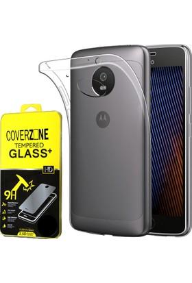 Coverzone Motorola Moto G5 Plus Kılıf 0.2 Mm Silikon + Cam