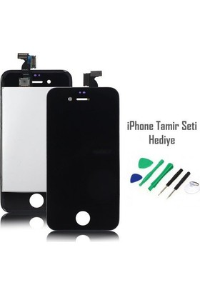 Casecrown iPhone 4 Siyah Ekran Lcd Tamir Seti Hediyeli