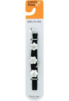 Luxury Paws Kedi Boyun Tasması Çiçek Desenli Siyah 10Mm-32Cm