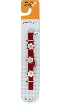 Luxury Paws Kedi Boyun Tasması Çiçek Desenli Kırmızı 10Mm-32Cm