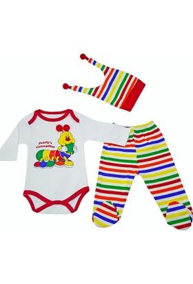 Karyel Bebe 3'lü Kız ve Erkek Bebek Tırtıllı Body ve Zıbın Seti Pt-9105-T