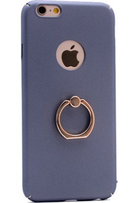 KNY Apple iPhone 5-5S-5Se Kılıf Yüzüklü Standlı Rubbber+Cam