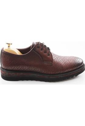 Veyis Usta Bordo Nakışlı Açma Deri Erkek Ayakkabı