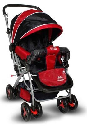 Aldeba 8028B Çift Yönlü Lüks Bebek Arabası Kırmızı Siyah