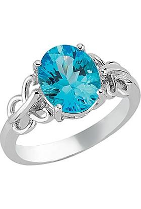 Goldstore Gümüş Blue Topaz Yüzük Sr17022 30