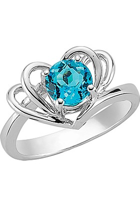 Goldstore Gümüş Blue Topaz Yüzük Sr17023 30