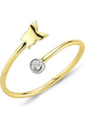 Goldstore 14 Ayar Altın Kelebeğim Yüzük Grf40227 30
