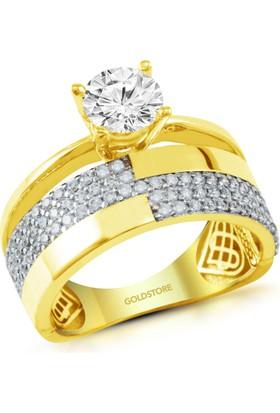 Goldstore 14 Ayar Altın Alyanslı Tektaş Yüzük Grf40313 30