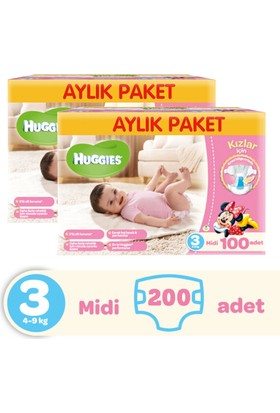 Huggies Kızım İçin Bebek Bezi Midi Aylık Paket 3 Beden 2 Adet