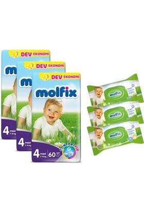 Molfix Bebek Bezi Comfort Fix Maxi Dev Ekonomi 180'li 4 Beden + Molfix Bebe Losyonlu 3'lü Islak Havlu