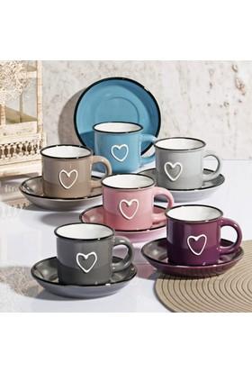 Lüx Porselen 6 Renk Kalp Dekorlu Kahve Fincan Seti