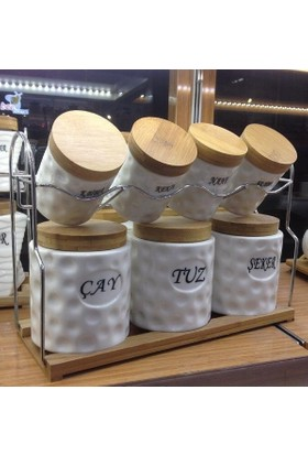 ACERO Porselen 7 Parça Bambulu Baharat Takımı PE-4333