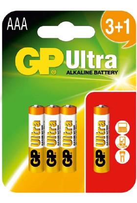 GP Ultra Alkalin 4'lü (3+1) AAA Boy İnce Pil (GP24AU3/1)