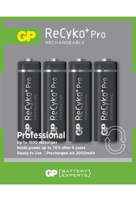 GP 4'lü ReCyko Pro 2000 Serisi NiMH AA Kalem Boy Şarjlı Pil(GP210AAHCBLL-2ECE4)