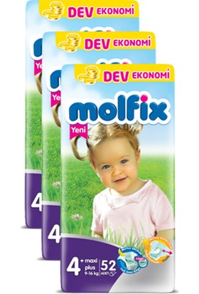 Molfix Bebek Bezi Comfort Fix Maxiplus Dev Ekonomi 4+ Beden 156 Adet