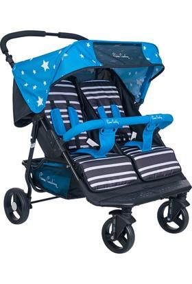 Pierre Cardin PC507 Ivo İkiz Bebek Arabası Mavi
