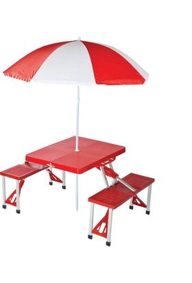 Direkstoktan Katlanır Piknik/Kamp Masası Seti Çanta Tipi (4 Kişilik) / KIRMIZI RENK