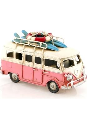 MNK Vintage Camper Van Eskitilmiş Nostaljik Metal Volkswagen Minibüs El Yapımı 1210a 5432