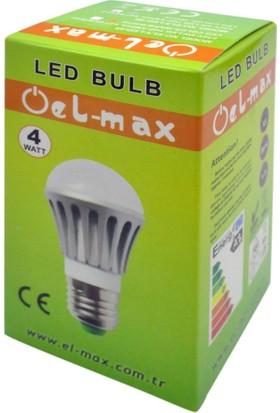 El-Max 4W Alüminyum Gövde Soğutmalı Led Ampul (Beyaz Işık) E27