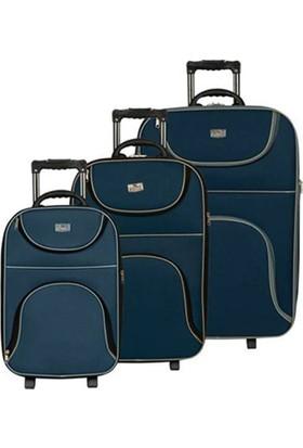 Trend Bavul Stil Kumaş 3'lü Lacivert Valiz Seti