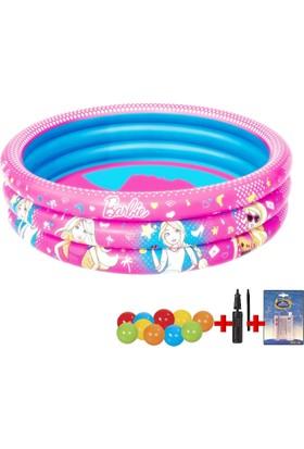 Bestway Barbie Lisanslı Çocuk Havuzu + 10 Adet Oyun Topu + Şişirme Pompası + Tamir Kiti Seti