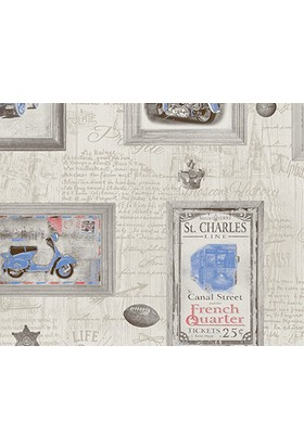 Decowall Mavi Çerçeve Desenli Royal Port Duvar Kağıdı 8816-02