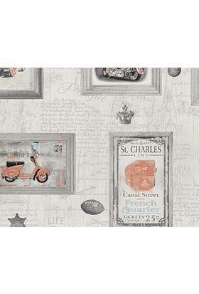 Decowall Turuncu Çerçeve Desenli Royal Port Duvar Kağıdı 8816-01