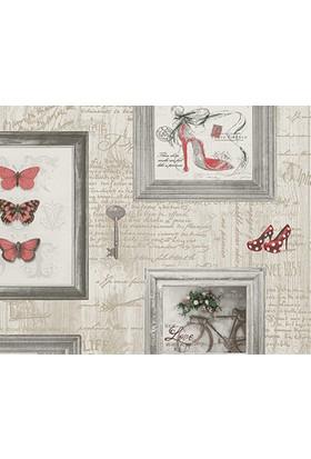Decowall Kırmızı Çerçeve Desenli Royal Port Duvar Kağıdı 8810-02