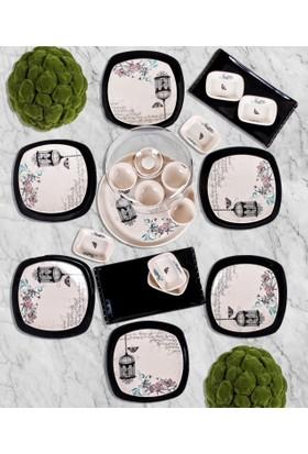Keramika 24 Parça Siyah Retro Kahvaltı Takımı