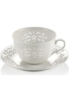 N604 Daısy Dantels 12 Parça Çay Takımı-Beyaz