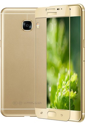 KılıfShop Samsung Galaxy C9 Pro Tam Kavisli Ekran Koruyucu Gold